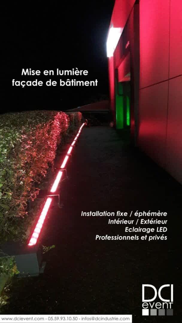mise en lumière LED illumination façade batiment vitrine magasin