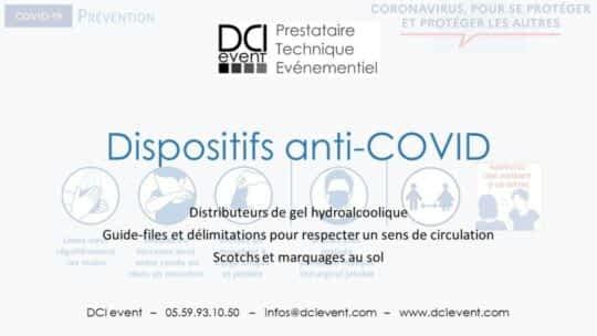 gel désinfectant distributeur borne guide file barrière covid DCI event