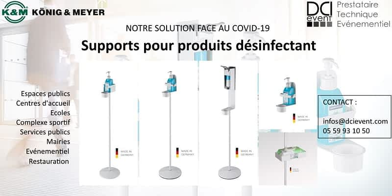 Support désinfectant mural ou sur pied DCI event