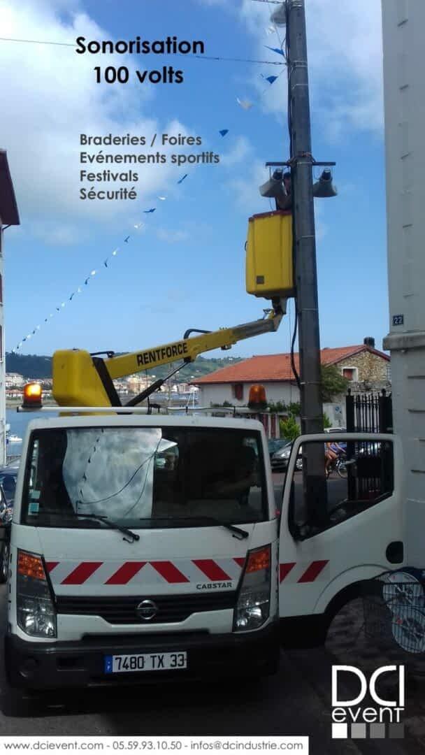 sonorisation 100 volt rue ville braderie foire sécurité course